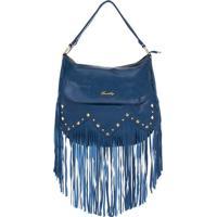 Bolsa De Couro Azul Real Com Franjas E Spikes Dourados Smartbag - 74073