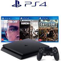 Console Playstation 4 Slim 1Tb Com 3 Jogos Days Gone Detroit E Rainbo