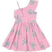Vestido Infantil Flores E Babados Rosa Claro - Fakini