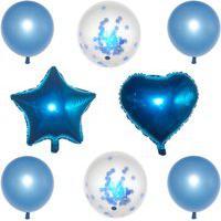 Kit Com 08 Balões Buque Látex/Metalizado - Azul