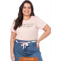 T-Shirt Feminina Champagne Rosa Bebe