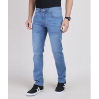 Calça Jeans Masculina Reta Com Bolsos Azul Médio