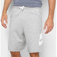 Bermuda Moletom Nike French Terry Alumni Masculina - Masculino-Cinza+Branco