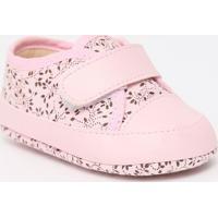 Tênis Com Recortes & Velcro- Rosa Claro & Marrom Escurotico Baby