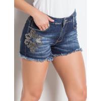 Shorts Jeans Sawary Com Aplicação Lateral Azul