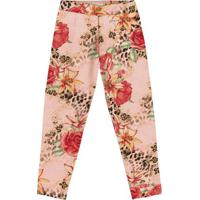 Legging Floral - Rosa Claro & Vermelha- Teen - Ttrick Nick