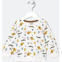 Blusão Moletom Infantil Estampa Animais - Tam 0 A 18 Meses | Teddy Boom (0 A 18 Meses) | Branco | 3-6M
