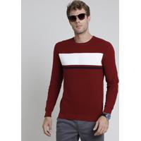 Suéter Masculino Em Tricô Texturizado Com Listras Vermelho Escuro