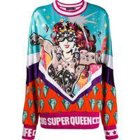 Dolce & Gabbana Blusa De Moletom Super Queen Com Estampa - Branco