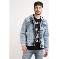 Jaqueta Jeans Masculina Com Bolsos E Capuz Azul Médio