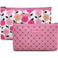 Jogo De Nã©Cessaires Floral- Rosa & Branco- 2Pã§S-Jacki Design