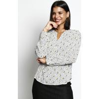 Blusa Com Botões- Branca & Amarela- Vip Reservavip Reserva