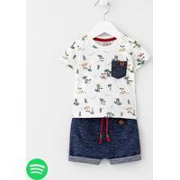 Conjunto Infantil Camiseta Estampa Cachorro Na Praia E Bermuda Com Bolso Ganguru - Tam 0 A 18 Meses