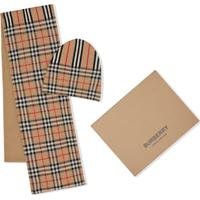 Burberry Kids Conjunto Vintage Check E Icon Stripe De Lã - Marrom