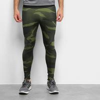 Calça Legging Adidas Camuflada Alphaskin Masculina - Masculino-Verde Militar