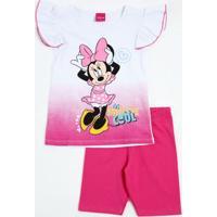 Conjunto Infantil Minnie Brilho Babado Disney