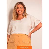 Blusa Plus Size Feminina Viscolinho Bege