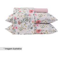 Jogo De Cama Floral Em Malha King Size- Branco & Rosa Claltenburg