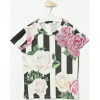 Blusa Listrada & Floral- Branca & Pretaluluzinha