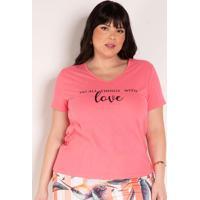 Blusa Rosa Com Estampa Na Frente Plus Size