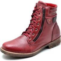Bota Coturno Masculino Top Franca Shoes - Masculino-Vermelho