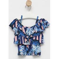 Blusa Folhagem Com Recortes Vazados- Azul Marinho & Rosacostã£O Fashion