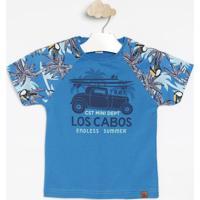 """Camiseta """"Los Cabos""""- Azul & Verde Claro- Costã£O Fascostã£O Fashion"""
