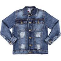 Jaqueta Jeans Infantil Para Menina - Azul