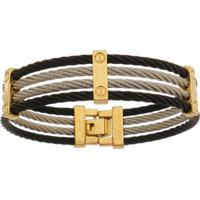 Bracelete De Aço Inox Tudo Joias 3 Cores Com 15Mm De Largura - Unissex-Preto
