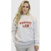 Blusa Moletom Feminino Moleton Básico Suffix Cinza Claro Estampa Harvard Law Vermelho E Amarelo