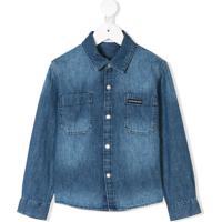 Farfetch  Calvin Klein Kids Camisa Jeans Mangas Longas - Azul dd9c0bed7a