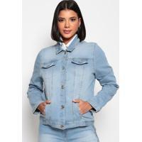 Jaqueta Jeans Com Termocolantes- Azul Claro- Charrycharry