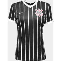Camisa Corinthians Ii 20/21 S/N° Torcedor Nike Feminina - Feminino-Preto+Branco