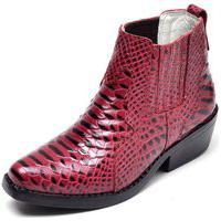 Botina Country Infantil Em Couro Jna Shoes Vermelha Kids