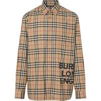 Burberry Camisa Oversized Xadrez Com Logo - Neutro