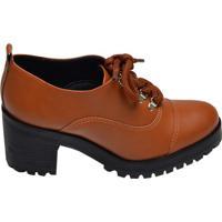 Sapato Feminino Oxford Solado Tratorado Offline Caramelo E Preto
