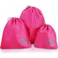 Kit Organizador De Malas De 3 Peças Jacki Design Viagem Pink
