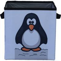 Caixa Organizadora De Brinquedos Organibox Pinguim Branca/Preta