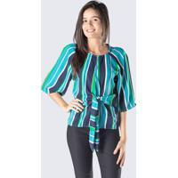 Blusa Listrada Com Amarraã§Ã£O - Azul Escuro & Verdedwz
