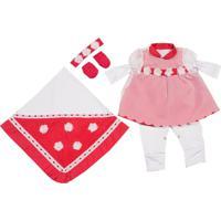 Kit I9 Baby Saída Maternidade Menina 5 Peças Flor Vermelha Delicada