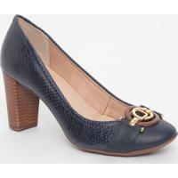 Sapato Em Couro Texturizado Com Aviamentos - Azul Marinhjorge Bischoff