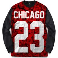 Blusa Bsc Chicago 23 Red Rose Full Print - Masculino