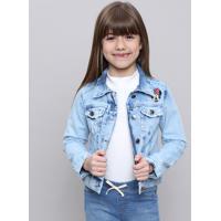 Jaqueta Jeans Infantil Minnie Com Puídos Azul Claro