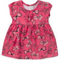 Vestido Bebê Minnie E Flores Rosa - Brandili