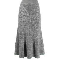 Jil Sander Ruffle Knitted Midi Skirt - Cinza
