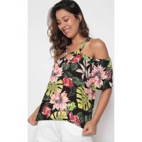 Blusa Floral Com Folhagens- Preta & Verde- Arsenalarsenal