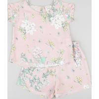 Conjunto Infantil Estampado Floral Manga Curta Rosa Claro