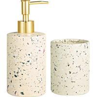 Jogo Para Banheiro Em Cerâmica- Bege & Dourado- 2Pçsmart