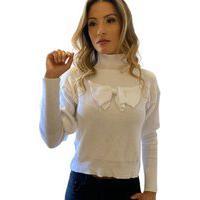 Blusa Feminina Tricot Manga Longa Laço Branco