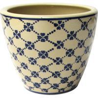 Cachepot De Cerâmica Decorando Com Classe Azul E Bege 17Cmx14,5Cm Única